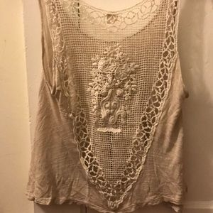 Urban Outfitters Tan Crochet Crop Top in size XS
